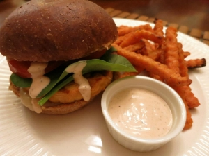 Salmon Burger, Sweet Potato Fries, and Gunshot Mayonnaise
